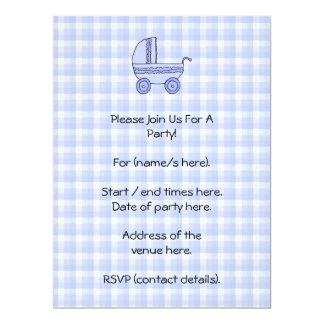 Baby Stroller. Light Blue on Check Pattern. Invitations