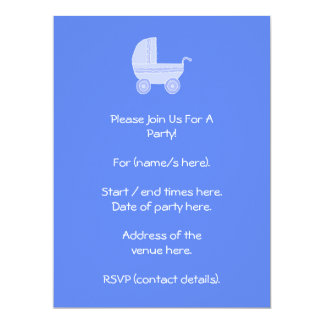 Baby Stroller. Light Blue on Mid Blue. 17 Cm X 22 Cm Invitation Card