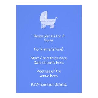 Baby Stroller. Light Blue on Mid Blue. 6.5x8.75 Paper Invitation Card