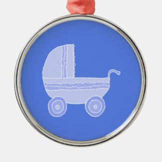 Baby Stroller. Light Blue on Mid Blue. Metal Ornament