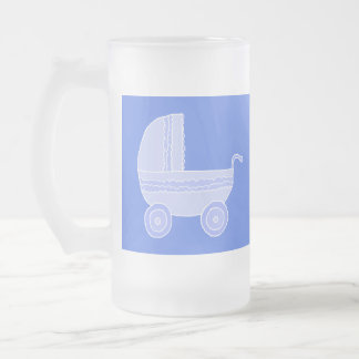 Baby Stroller. Light Blue on Mid Blue. Frosted Glass Mug
