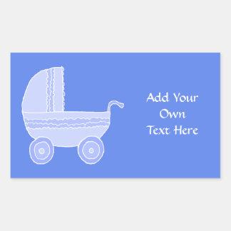 Baby Stroller. Light Blue on Mid Blue. Rectangular Sticker
