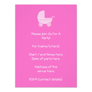 Baby Stroller. Light Pink and Bright Pink. 17 Cm X 22 Cm Invitation Card