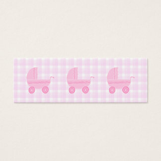 Baby Stroller. Light Pink on Pink Gingham. Mini Business Card