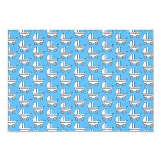 Baby Stroller Pattern on Blue. Card