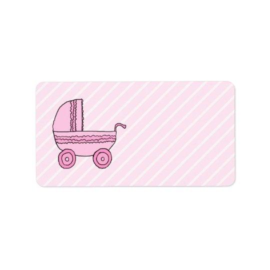 Baby Stroller. Pink on Light Pink Stripes. Address Label