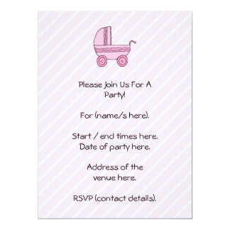 Baby Stroller. Pink on Light Pink Stripes. Custom Invites