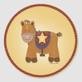 Baby Stuffed Animal Horse Classic Round Sticker