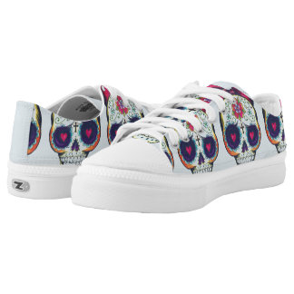 Baby sugar skull low top lace up printed shoes
