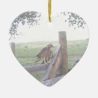 Baby Swensain Hawk Ceramic Heart Ornament