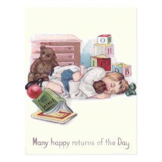 Baby Teddy Bear Book Ball Postcard