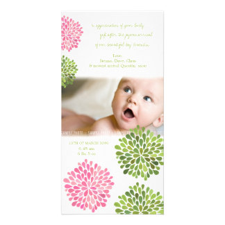 Baby Thank You Card Pink & Green Flowers Personalised Photo Card