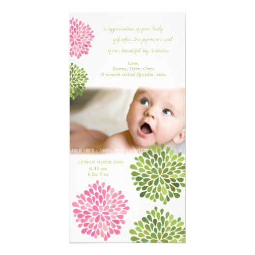 Baby Thank You Card Pink & Green Flowers Photo Card Template