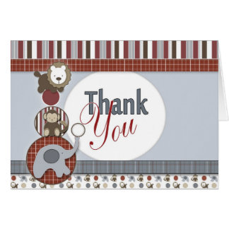 Baby Thank You Card with Blue Elephant, Monkey & T