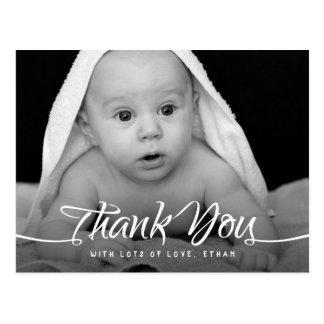 Baby Thank You Custom Photo Chic Hand Script Postcard