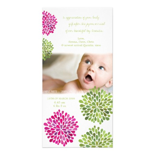 Baby Thank You Hot Pink & Green Blooms Customized Photo Card