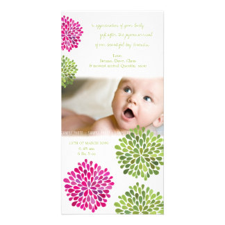 Baby Thank You Hot Pink & Green Blooms Picture Card
