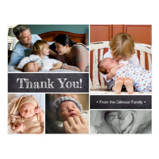 Baby thank you, Introducing baby, photo collage Postcard