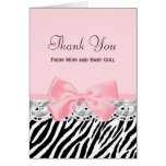 Baby Thank You Pink Ribbon and Lace Zebra Print Note Card