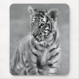 Baby Tiger in Black and white Mouse Pads