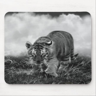 Baby Tiger stalking in Black and white Mouse Pad