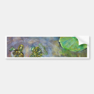 Baby Turtles in Rainbow Water Lilly Pads Fine Art Bumper Stickers
