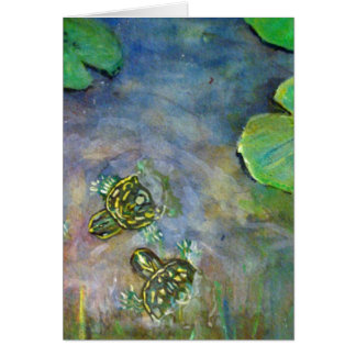 Baby Turtles in Rainbow Water Lilly Pads Fine Art Card