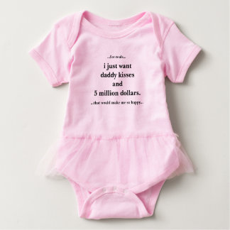 Baby Tutu Bodysuit Pink, I Just Want Daddy Kisses