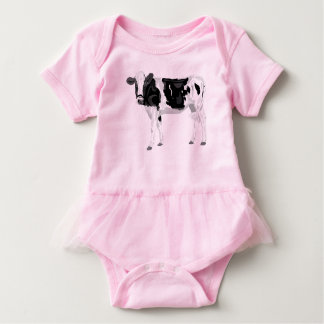 Baby tutu bodysuit with black and cow graphic