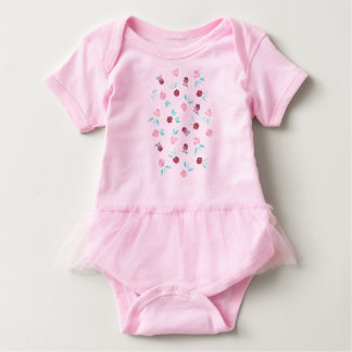 Baby tutu bodysuit with clover flowers and leaves