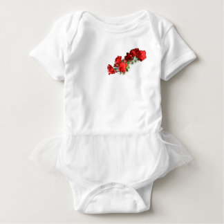 baby tutu with red flowers baby bodysuit
