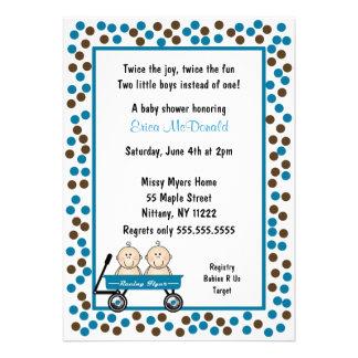 Baby Twin Boys in Wagon Shower Invitation CUTE