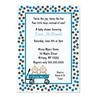 Baby Twin Boys in Wagon Shower Invitation CUTE!