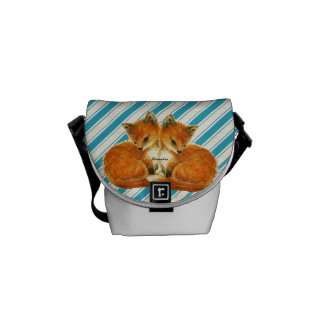 Baby Twin Foxes Messenger Bag