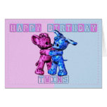 baby twins birthday card with bear and puppy