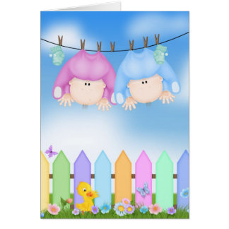 Baby Twins Congratulations Card