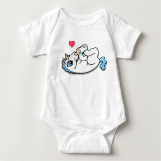 Baby unicorn feeding time - Blue Tee Shirt