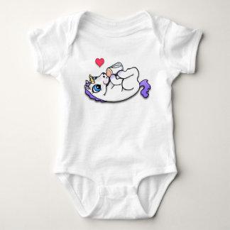 Baby unicorn feeding time - Purple Baby Bodysuit