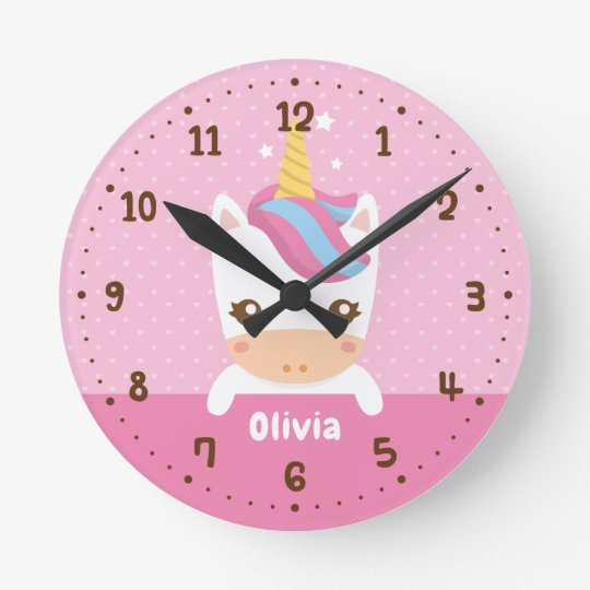 Baby Unicorn Girls Room Decor Personalised Clock
