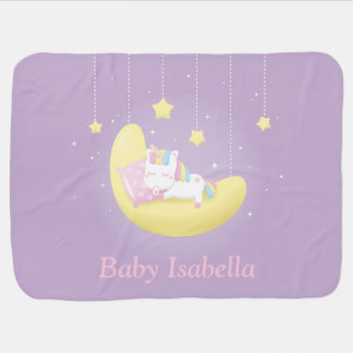 Baby Unicorn on Moon Girl Personalized Blanket