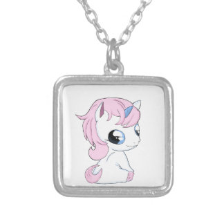 Baby unicorn silver plated necklace