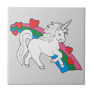 Baby Unicorn Small Square Tile
