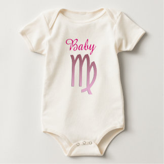 Baby Virgo One Piece Pink Horoschope Sign Baby Bodysuit