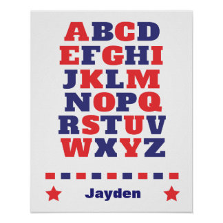 Baby visual alphabet red dark blue abc poster