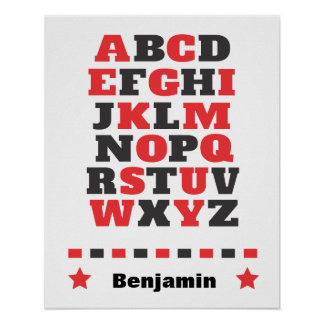 Baby visual stimulation red white black abc poster