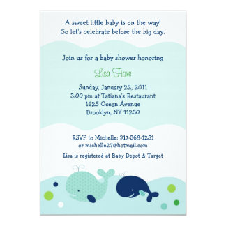 """Baby Whale Nautical Baby Shower Invitations 5"""" X 7"""" Invitation Card"""