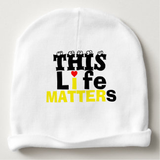 """Baby white beanie w """"THIS LIFE MATTERS"""" SLOGAN f&b Baby Beanie"""