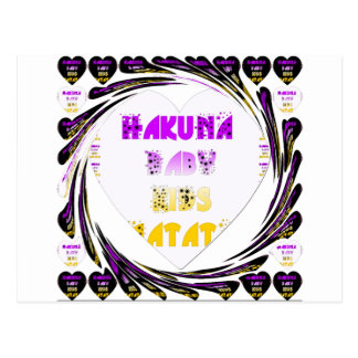 Baby White Hearts Hakuna Matata Baby Kids Design.p Postcard