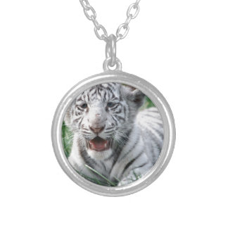 Baby White Tiger Silver Plated Necklace