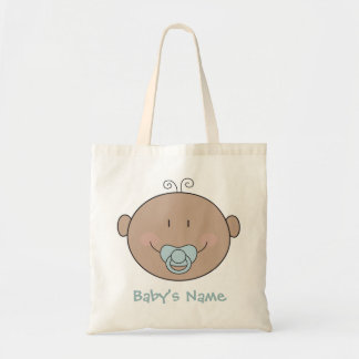 Baby with blue pacifier tote bag